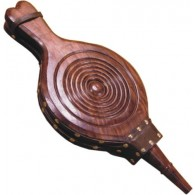 18.5'' Carved Hardwood Fireplace Bellow - Sheesham Wood Leather & Solid Brass