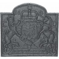 Coat of Arms 1635 Cast Iron Fire Back 23.5'' wide - Cast Iron