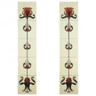 Tulip Burgundy Ivory Fireplace Tiles - Tube Lined (Set of 10)