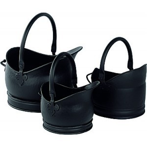 Set Of 3 Cathedral Coal Buckets - Black