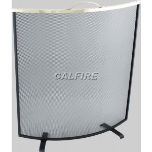Custom Size Curved Fire Screen - The Noble Collection - Brass Trim
