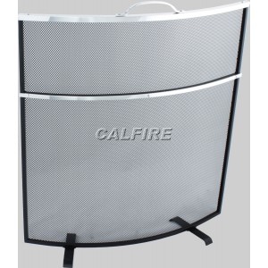 Custom Size Curved Deluxe Fire Screen - The Noble Collection - Aluminium Trim