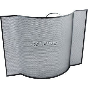 Custom Size Flat Sided Bowed Fire Screen - The Noble Collection - Black