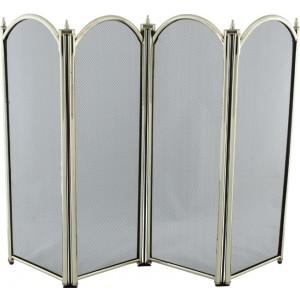 32.5'' 4 Fold Fire Screen - Brass Plated
