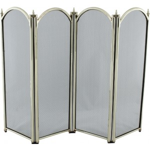 28'' 4 Fold Fire Screen - Antique Plated