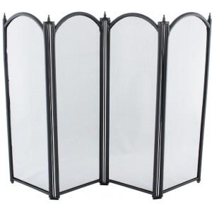 32.5'' 4 Fold Fire Screen - Black