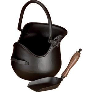 Plealey Coal Bucket Complete With Wooden Handle Shovel - Black