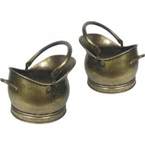 Set Of 2 Kenley Coal Buckets (Medium & Large) - Antique Brass Electro Plated