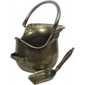 Plealey Coal Bucket Complete With Wooden Handle Shovel - Antique  Brass Electro Plated