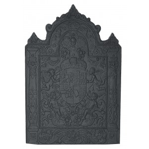 Large Shield Cast Iron Fire Back 32'' wide - Cast Iron