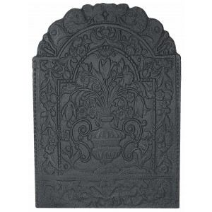 Large Flowers Cast Iron Fire Back 28.75'' wide - Cast Iron