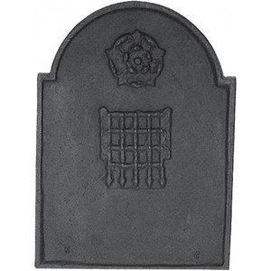 Rose & Porticullis Cast Iron Fire Back 15.5'' wide - Cast Iron