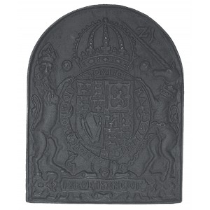 Royal Coat of Arms Cast Iron Fire Back 21.5'' wide - Cast Iron