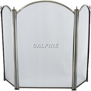 26'' 3 Fold Fire Screen - Antique Plated
