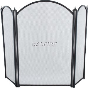 26'' 3 Fold Fire Screen - Black