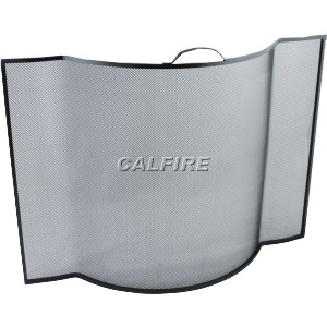 24'' Flat Sided Bowed Fire Screen - The Noble Collection - Black