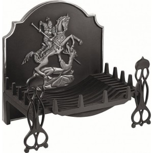 24'' George & Dragon Cast Iron Fire Back Front highlited