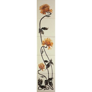 Sweeping Rose Yellow Ivory Fireplace Tiles - Tube Lined (Set of 10)
