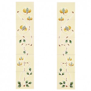 Mediterranean Poppy Honey Yellow Fireplace Tiles - Tube Lined (Set of 10)