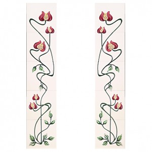 Mediterranean Poppy Ivory Burgundy Fireplace Tiles - Tube Lined (Set of 10)