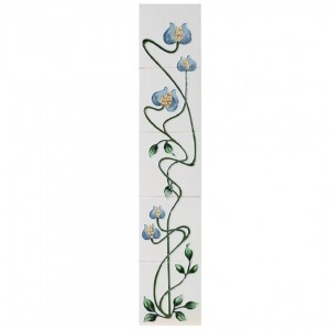 Mediterranean Poppy Ivory Blue Fireplace Tiles - Tube Lined (Set of 10)