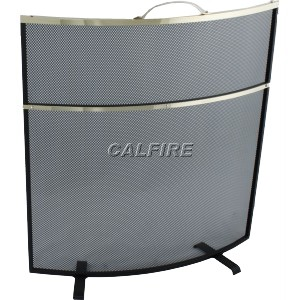 24'' Curved Deluxe Fire Screen - The Noble Collection - Brass Trim