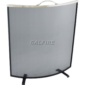 24'' Curved Fire Screen - The Noble Collection - Brass Trim