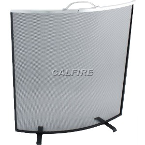 24'' Curved Fire Screen - The Noble Collection - Aluminium Trim